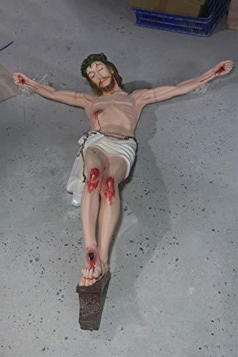 Zenghh Mur Halking Immense Crucifix Statue 100cm à 160cm Cathédrale de croix latine à la maison Intérieur Suspension extérieure Sauveur Catholique Sauveur Icône Modèle Grand résine solide Christ Jésus