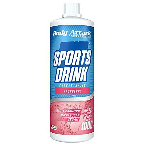 Body Attack Zero Sports Drink, Raspberry / Himbeere,1x 1000 ml / 200 Portionen, Sportgetränkekonzentrat, zucker- und fettarm, vegan, Made in Germany