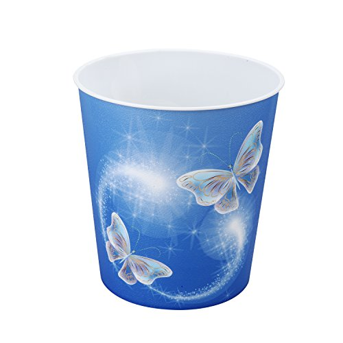 Idena 10485 - Papierkorb aus PP, Schmetterlingsmotiv, 9 Liter, 1 Stück