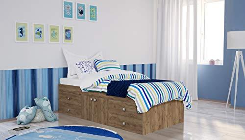 Polini Kids Kinderbett Jugendbett Stauraumbett Eiche-Optik 196 x 95,3 x 51 cm