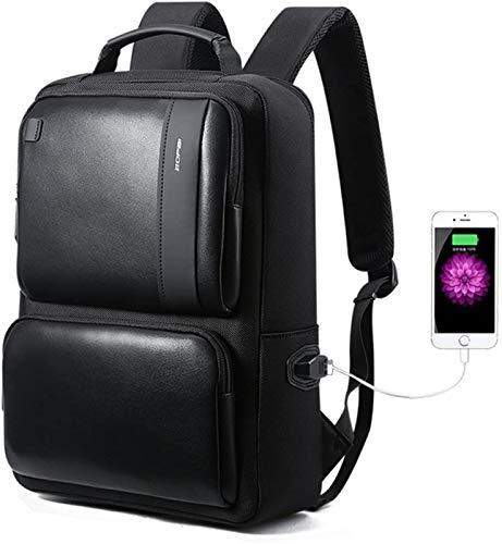Zaino portatile da 15,6 pollici, con porta di ricarica USB, antifurto, business, casual, zaino resistente, da viaggio, per le aziende al servizio degli uomini, nero 20 l