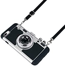 Awsaccy Emily in Paris Phone Case iPhone 7 Plus/8 Plus Camera Case Vintage Cover Cute 3D Cool Unique Camera Design Case PC Silicone Cover with Removable Neck Strap Lanyard for Girls Women Black