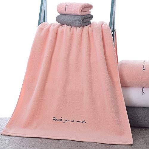 YHWW Toalla de baño,Toallas de algodón para Adultos Sweet Letters Toalla de baño Bordada Suave Toalla de baño Ducha Regalo para Amantes Toallas, Rosa, 1 Pieza 70x150cm