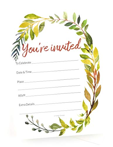 50 Wedding Invitations Watercolor Greenery - Party Invitation Cards Blank. Bridal Shower or Rehearsal Dinner Party Invites. All Occasions including Housewarming, birthday engagement or bachelorette