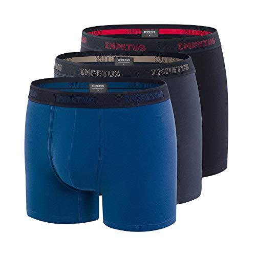 IMPETUS – Boxershorts für Herren, 2 + 1 gratis aus Baumwolle Stretch Tasch Gr. S, blau