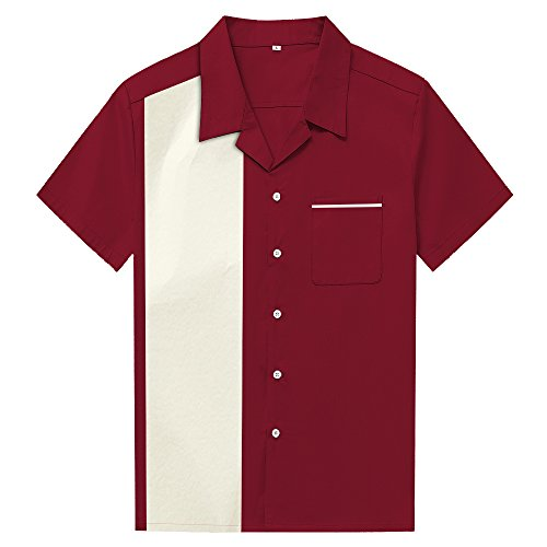 Anchor MSJ Men's 50s Male Clothing Rockabilly Style Casual Cotton Blouse Mens Fifties Bowling Dress Shirts (XL) Marron