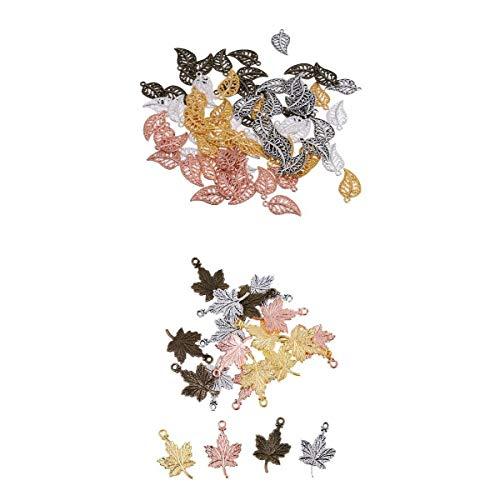 joyMerit Colección de Encantos de Hojas de 95 Piezas - Colgantes de Aleación de Metal con Hojas de árbol de Hojas Huecas