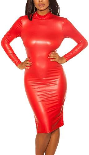 Koucla Midi Kleid im Wetlook mit sexy Rücken-Ausschnitt S/M