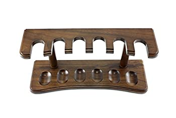 Skyway 6 Pipe Wood Tobacco Pipe Stand Rack Holder - Walnut Brown