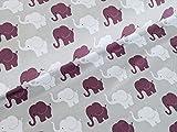 Baumwolljersey Elefanten Parade Hellgrau/Aubergine Stoff