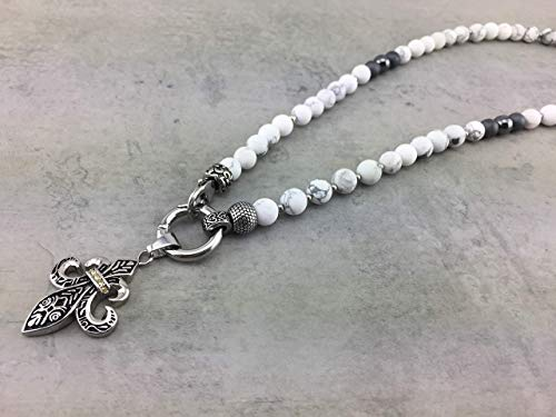 2in1 Halskette Y-Kette Rosenkranz Perlenkette für Damen und Herren Howlith Hämatit Edelstahl weiß Surferstyle Tibet mit Anhänger: Buddha Herz Flügel Lilie FLEUR de Lys K86