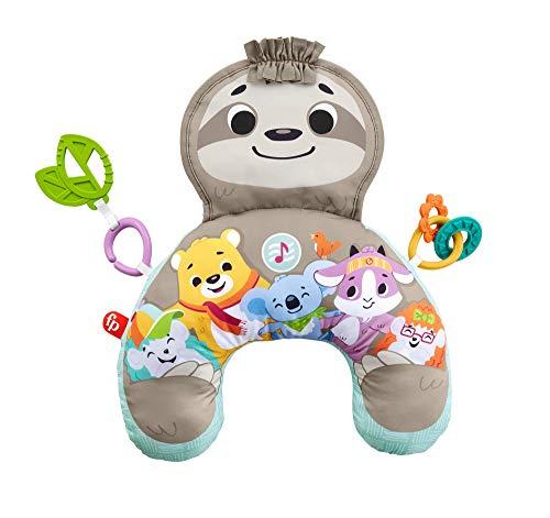 Fisher-Price Mon Coussin d'Éveil Musical Paresseux tout Rond, avec musique et vibrations pour aider bébé à jouer sur le ventre, dès la naissance, GRR01