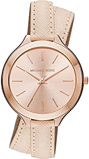 Michael Kors Slim Runway Women's Rose Gold Dial Leather Wrap Band Watch - MK2469