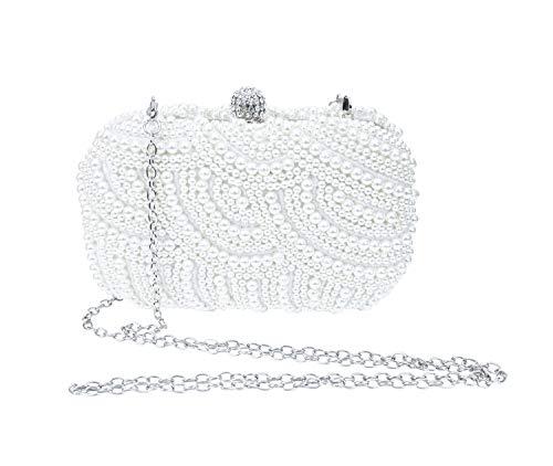 SXON Damen Glänzend Perle Einfache Quadratische Abendtasche Bankett Handtasche Minitasche (weiß)
