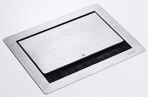 Inbouwstopcontact roestvrij staal 3-voudig keukenstopcontact verzonken EVOline FlipTop PUSH *558292