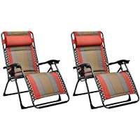 AmazonBasics - Set de 2 sillas acolchadas con gravedad cero - de color rojo