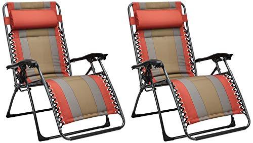 Amazon Basics - Set de 2 sillas acolchadas con gravedad cero - de color rojo