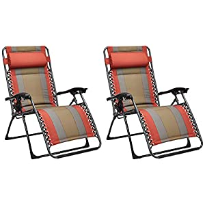 AmazonBasics Padded Zero Gravity Chair - 2 Pack, Black, Red, Tan and Blue