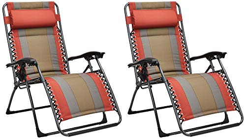 Padded Zero Gravity Patio Chair - Red, 2-Pack