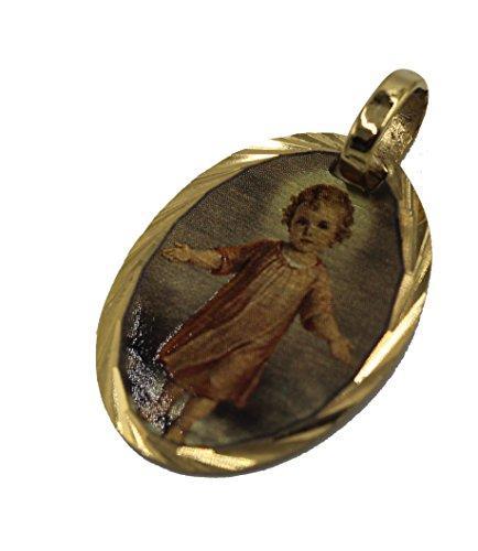 Diamantados de Florida Divino Niño Jesús Medalla Ovalada 14 K Chapado en Oro Colgante con Cadena de 45 cm