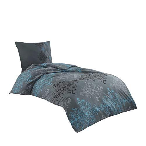Class Home Collection 2 TLG Renforce Bettwäsche Set | Bettdeckenbezug 155x220 cm mit 1 Kopfkissenbezüge 80x80 cm | 2 teilig Bettgarnitur | 100% Baumwolle Bettbezug mit Reißverschluss Oeko-TEX Aura