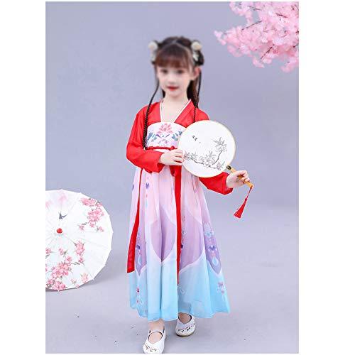 HLONGG Fantasy Principessa Dress delle Ragazze, Vestito da Estate Ragazze Cheongsam Abito di Stile Cinese Vintage,110