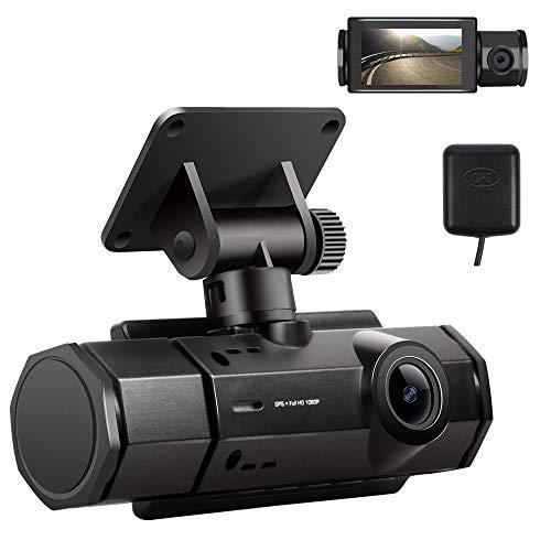 Dual Dash cam,Dash Camera for Cars 1080P FHD Car Camera Wide Angle, GPS Track Playback, G-Sensor, Loop Recording,Motion Detection,Parking Monitor