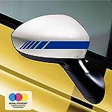 mural stickers Car Stripes - Adesivi per Specchietti Macchina - Strisce Design - Tuning - Confezione da 6 unità Ideale per Tutte Le Auto - Sinistro E Destro Striscia Striscia Blu 20cm x 2cm