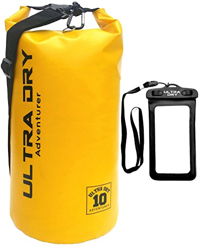 Premium Waterproof Bag, Sack with phone dry bag and long adjustable Shoulder Strap Included, Perfect for Kayaking Boating Canoeing Fishing Rafting Swimming Camping Snowboarding (yellow 10 L) …