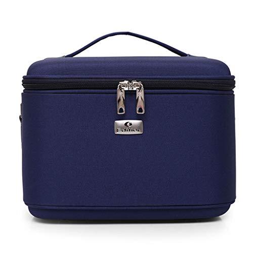 Dames grote cosmetische tas, reizen draagbare effen kleur cosmetische tas, schoudertas 10inches Donkerblauw