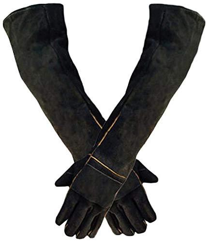 ZMIN Tierschutzhandschuhe, 23,6-Zoll-Langarm-Schweißen Schutzhandschuhe, Holz-Brenner Zubehör, Hitzebeständige Handschuhe