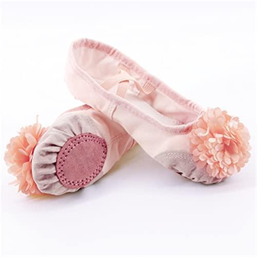 ZBYD Zapatos de Baile de Ballet Rosa Chicas niños niños niños Ballet Zapatillas de Cuero splace Suave Suela de Yoga Gimnasia Zapatos de Baile con Flor 509 (Color : Beige Beige Flower, Shoe Size : 36)