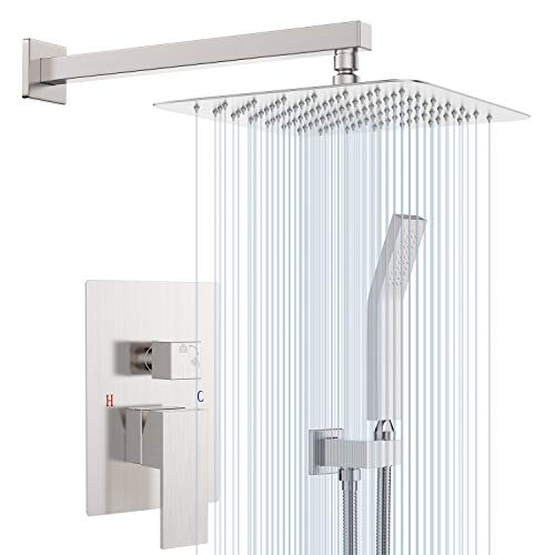 Shower System-Rain Shower Faucet Complete Set with Wall Mounted Shower Head and Hand Held Shower Head, Brushed Nickel Shower Combo All Metal