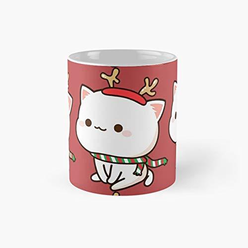 Mochi Peach Cat – Tazza classica con renna Best Gift divertente tazza da caffè 325 ml