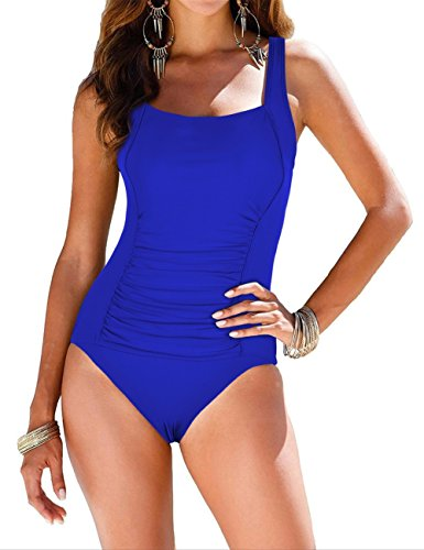 Firpearl Women's Retro Halter One Piece Bathing Suit Ruched Tummy Control Swimsuit Royal Blue US18