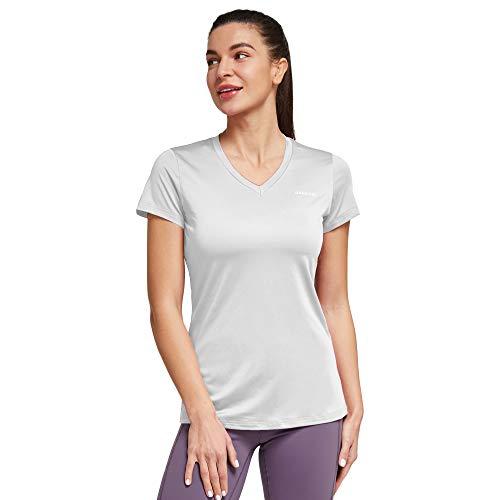 Ogeenier Camisetas Mujer Manga Corta Deportiva Running Fitness tee y Cuello en V