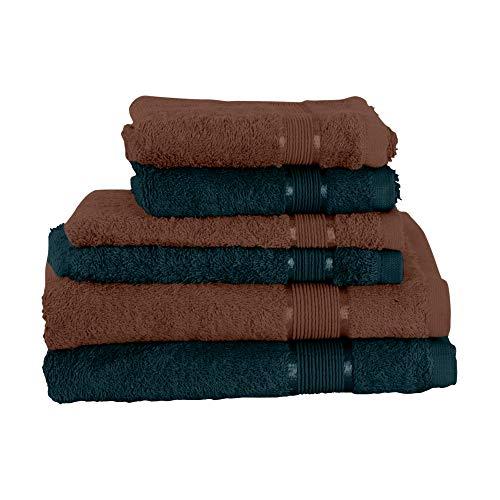 Mixibaby Juego de toallas de 6 piezas: 2 toallas de ducha, 2 toallas de invitados, 2 manoplas de baño, color marrón oscuro, combinado, color: verde oscuro