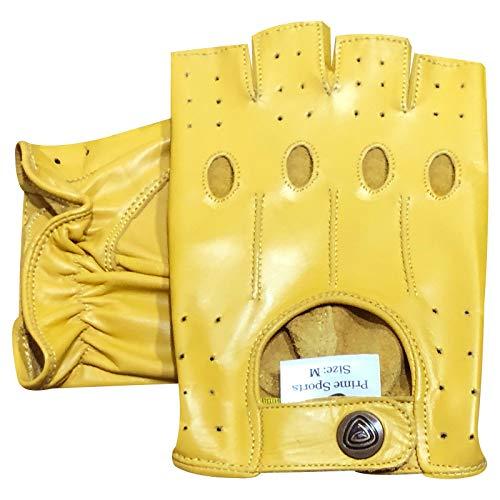 Prime, fingerlose Handschuhe aus echtem Leder, für Motorrad, Radfahren, Halbfinger, 309 S gelb