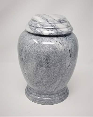Eternitymart Real Natural Marble Cremation Urn for Human Ashes - Adult Funeral Urn - Affordable Urn for Ashes - Large Urn Deal. (Greyed Kylix)