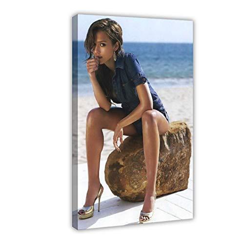 American Film And Television Attrice Jessica Alba 10 poster di tela di canapa decorazione della camera da letto Sport Paesaggio Ufficio Decor Regalo 50 × 75 cm Frame-style1