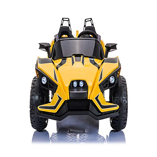 ANEKEN Kids Ride On Car 2 Seats with Remote Control, 12V Kids Toy Electric Ride On Car with Spring Suspension Wheels, 3 Speeds, LED Lights, Music, AUX Cord, USB Port - Yellow