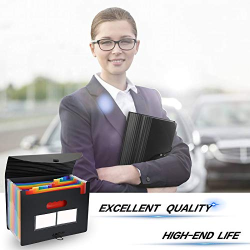 26 Pockets Accordian File Organizer/Plastic Expanding File Folder A4 Letter Size/Portable Expandable Filling Box/Accordion Document Coupon Bill Receipt Organizer (FF-6-26 Pockets) (FF-12Cover-2Pack) Photo #2