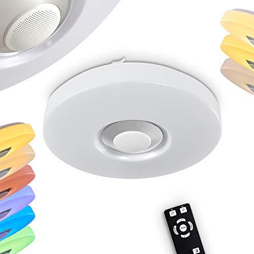 Lámpara LED de techo Athlone, redonda, de metal y plástico, color blanco,...