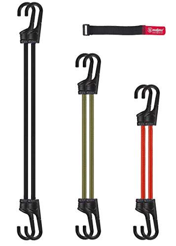 Magma Set mit 6 elastischen Spanngurten für Auto, Motorrad, Fahrrad, Camping, Fahrradträger, Anhänger, Markisen und Planen | Gummiseile 2 x (60cm,75cm,100cm)