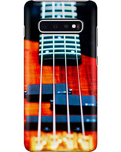 Wood Bass Guitar Phone Case for Samsung Galaxy S10 - Silicone Case with 3D Printed Design, Slim Fit, Anti Scratch, Shock Proof, IMD Soft TPU Cover Case