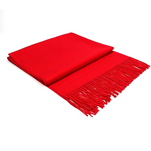 Pulchram Mujeres Bufanda de Pashmina, Chal de Colores Lisos Pura Cachemira-Toda la Temporada (Roja)