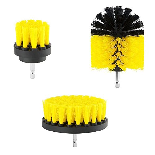 3 Piece Scrub Brush Drill Attachment Kit - All Purpose Power Scrubber Brush Cleaner for Shower, Tile, Floor, Tub, Bathroom Surface, Corners, Kitchen and Grout