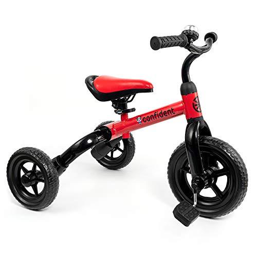 YGJT 3 in 1 Dreirad ab 2 Jahr | Faltbar Kinder Laufrad für 18-48 Monate Jungen und Mädchen | Baby Lauflernrad Spielzeug als Geschenk für Geburtstag Weihnachten (Rot)