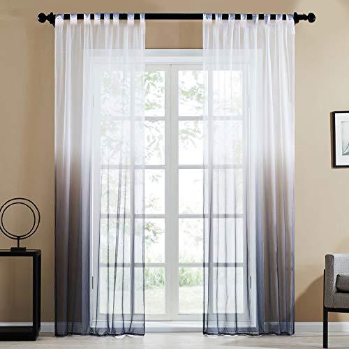 Topfinel Farbverlauf Vorhänge mit Schlaufen Transparente Gardinen Tüll und Voil Schlaufenschal für Fenster Schlafzimmer und Wohnzimmer 2er Set je 175x140cm (HxB) Grau