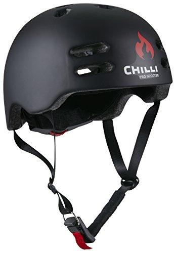 Chilli Pro Scooter In-Mold Helm M Schwarz   Hohe Sicherheit Dank moderner Schutztechnologie   Langlebiger Roller-Helm mit bequemer Polsterung für EIN perfektes Fahrgefühl   Größenverstellbar